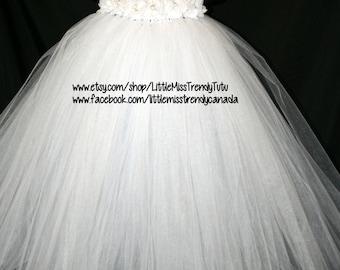 White Tutu Dress, Tutu Dress, Flower Girl Tutu Dress, Flower Girl, White Flower Girl Tutu Dress with white soft chiffon flowers