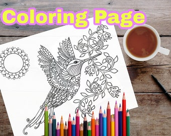 Humming Bird coloring printable instant download