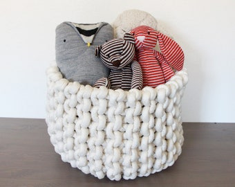 Large knit rope basket