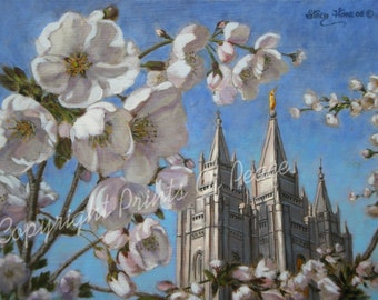 Salt Lake Temple in Blossom- canvas giclee                                                                         8 x 10