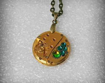 Gold Watch movement  Steampunk   Pendant with Swarovski crystals ,  Steampunk Jewelry , Steampunk Jewelry , Clockwork   Pendant