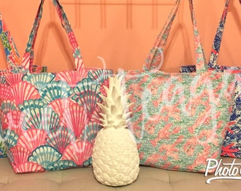 SALE Lilly Inspired Monogram Tote Bag / Beach Bag / Personalized / Back To School / Bridesmaid Gift