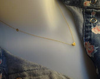 Necklace thin minimalist chain and Pearl Heart