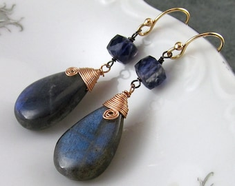 Labradorite and iolite earrings, handmade sterling silver, rose gold filled, mixed metal earrings-OOAK