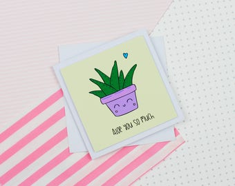 Aloe Vera Valentines Day Card Handmade Greeting Card Love Card Valentines Card Anniversary Card Kawaii Card Plant Based Vegan Gift