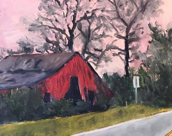 Old Red Barn Oil Painting