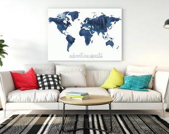 World Map Wall Art | Etsy