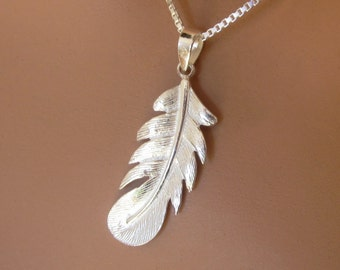 Sterling Silver Feather Pendant Womens Girls Jewelry Birthday Gift
