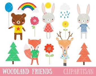 Cute Woodland Animals Clipart | Woodland Friends Clip Art | Woodland EPS Vector Graphics
