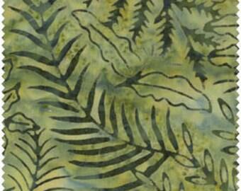 Fresh Water Java Batiks Green Leaves Ferns Batik Fabric by the Yard GALJAB-0005
