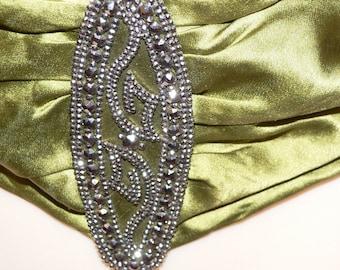 1920's Lime Green Silk Sash Belt with Huge Steel Cut Buckles