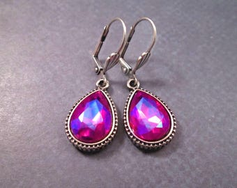 Rhinestone Drop Earrings, Violet Fuschia Glass Stones, Oxidized Silver Dangle Earrings, FREE Shipping U.S.