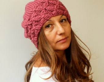 Hand Knit Hat - Winter Hat - Slouchy Beanie - Pompom Hat - Dust Rose Pink Beret / Chunky / Beret /Baggy / Beanie