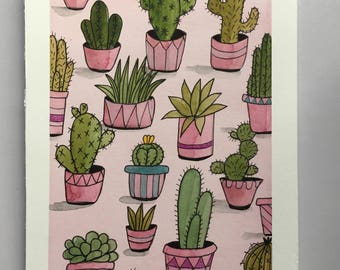 Cacti illustration in pink - original hand painted illustration