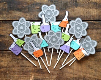 Cupcake Toppers | Birthday Party | Photo Shoot Prop | Party Decor | Mad Scientist Theme | Science Theme | Chemistry Theme