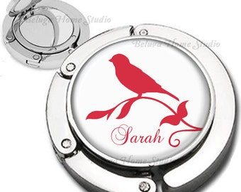 Personalized Red Bird Silhouette Purse Hook Bag Hanger Lipstick Compact Mirror