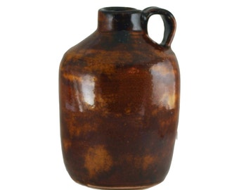 """Personal size Moonshine Jug, pottery, Brown, """"150 Proof"""" ceramic stoneware wheel thrown hand made"""