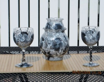 Wine Glasses with matching Votive Candle Holder/Vase hand painted