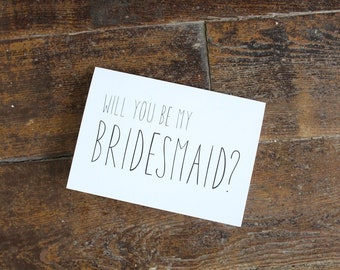 Will You Be My Bridesmaid Card   Elegant Wedding Card   Wedding Card   Greeting Card   Officiant Card