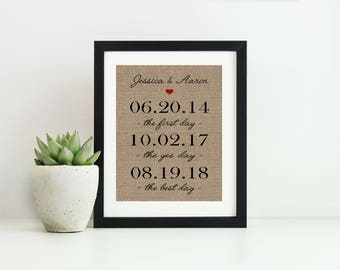 Special Date Sign-10 Year Anniversary Gift for Husband-Bridal Shower Gift for Bride-Important Dates Gift for Boyfriend-Our Love Story Dates
