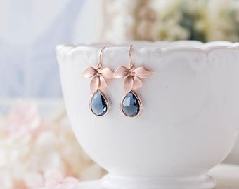 Rose Gold Navy Blue Sapphire Blue Teardrop Crystal Earrings, Rose Gold Wedding Bridal Earrings, Navy Blue Wedding Jewelry, Bridesmaid Gift