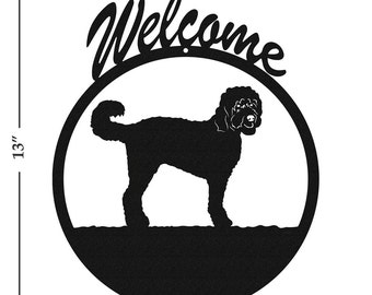 Dog Goldendoodle Black Metal Welcome Sign
