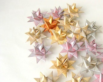Stars x3, origami ornament 3D, metallic pastel Christmas decor