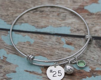 Personalized Basketball Bangle, Basketball Bracelet, Basketball Team Jewelry, Basketball Player Bangle, Initial or Number Hand Stamped