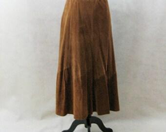 SAKS Leather Skirt, Maxi Skirt, Leather Maxi Skirt, Vintage SAKS, Brown Leather Skirt, Boho Clothing, Southwestern Skirt, Festival Clothing