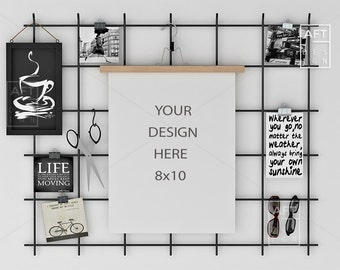 8x10 Print Mockup, Frame mock up, 16x20, Hanging Frame, Styled Stock Photography, Office, Board, Frame Mock-up, Calendar, To do list,  #1114