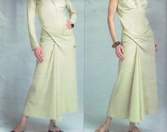 ISSEY MIYAKE Size 18-22 Misses' Plus Size Pattern - Twist Front Tunic Top Pattern - Long Twist Front Skirt Pattern - Vogue Designer V2814