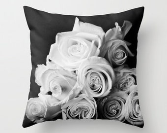 Throw Pillow Cover Black White Grey Ombre Rose Floral Photo Case Shabby Chic Cottage Romantic Modern Monochrome Bed Home Bedroom
