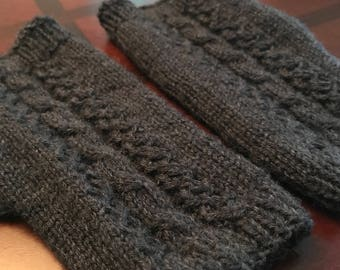 Hand knit navy cabled wool fingerless mittens