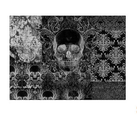 Gothic Shabby Chic Skull glass cutting board