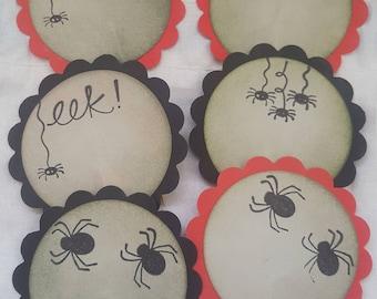 Set of 6 Spider Halloween Eek!  cupcake toppers