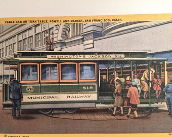 Vintage Cable Car San Francisco Ca Postcard Powell and Market Turntable 1949