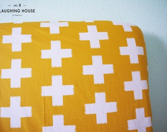 Fitted Crib Sheet (Crossed Impression in Solar) - Gender Neutral Baby Bedding - Modern Baby - Nursery Fitted Sheet