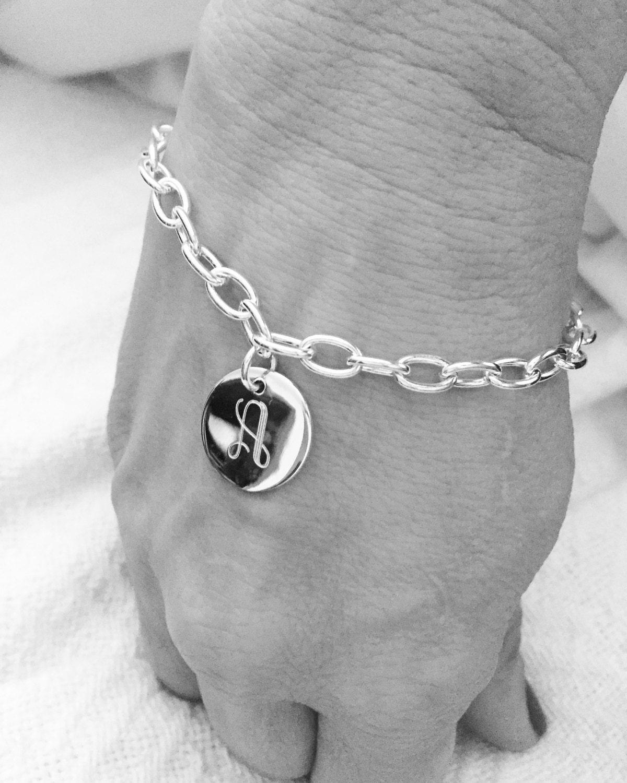 Initiale Monogramm Armband Kette Link 925 Sterlingsilber