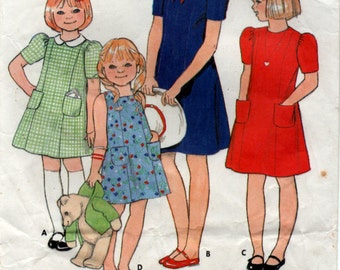 1986 Size 6 years Princess Seam girls dress Sewing Pattern Butterick 435
