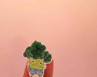 Broccoli with jeans brooch Gemüsebrüder vegetable guys