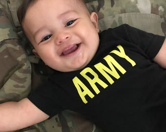 Infant Army Shirt - Baby Army Shirt - Military baby - Army Brat - Future Soldier - Kid PT shirt