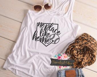 Baseball Mom Shirt/Women's Baseball Shirt/Baseball Mom/Bella Tank/No Place Like Home Tank