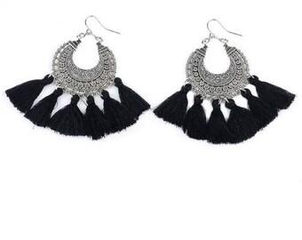 Creole earrings boho earrings / / / engraved silver / black tassels