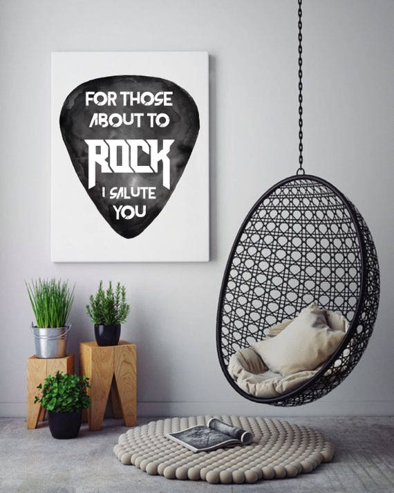 For those about to ROCK! | AC/DC | Framed canvas| Rock music art | Black and white wall art| Watercolor| Dorm room wall decor | ZuskaArt