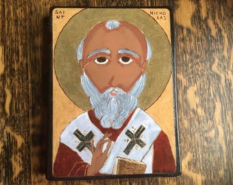 5 X 7 Saint Nicholas Folk Byzantine Icon print on wood