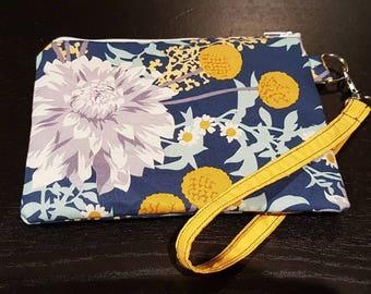 White Dahlia Floral Wristlet