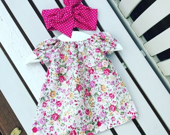 Pretty floral BABY GIRLS dress 100% cotton rose flower fabric 0-3 months 3-6 months 6-12 months 12-18 months 18-24 months - personalised