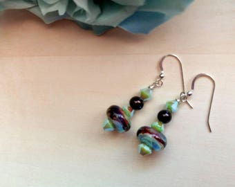 Artisan Lampwork and Swarovski Crystal Earrings