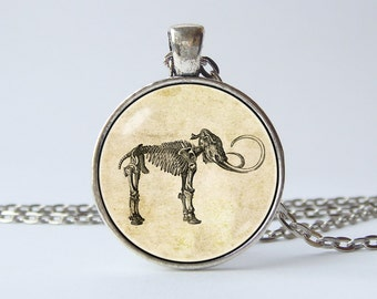 Mammoth necklace Mammoth jewelry Mammoth skeleton Mammoth pendant Prehistoric creature Friends gift Geology jewellery Paleontology Vintage