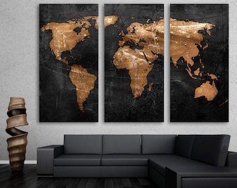 Abstract teal world map canvas print wall art 3 panel split bronze black world map canvas print wall art 3 panel split triptych home wall decor interior design decoration housewarming gift idea gumiabroncs Gallery